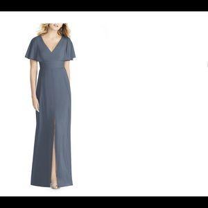 Social Bridesmaid split sleeve chiffon sample gown